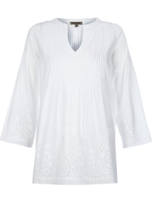 Cotton Embroidery Tunic - neckline: v-neck; pattern: plain; length: below the bottom; style: tunic; predominant colour: white; occasions: casual; fibres: cotton - 100%; fit: loose; sleeve length: 3/4 length; sleeve style: standard; texture group: cotton feel fabrics; pattern type: fabric