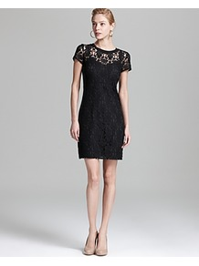 Short Sleeve Dress Lace - style: shift; length: mid thigh; pattern: plain; predominant colour: black; occasions: evening, occasion; fit: body skimming; fibres: cotton - mix; neckline: crew; sleeve length: short sleeve; sleeve style: standard; texture group: lace; pattern type: fabric; embellishment: lace