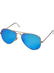 Large Metal Mirrored Aviator Sunglasses In Arista - predominant colour: diva blue; secondary colour: gold; occasions: casual, holiday; style: aviator; size: standard; material: chain/metal; trends: fluorescent; finish: metallic; pattern: colourblock