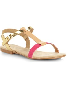 Pink And Gold Leather Sandals - predominant colour: hot pink; secondary colour: gold; occasions: casual, holiday; material: leather; heel height: flat; ankle detail: ankle strap; heel: standard; toe: open toe/peeptoe; style: standard; finish: plain; pattern: colourblock
