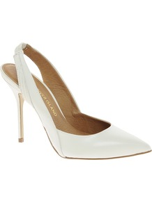 White Pointed Sling Back Court Shoes - predominant colour: white; occasions: evening, work, occasion, holiday; material: leather; heel height: high; heel: stiletto; toe: pointed toe; style: slingbacks; finish: plain; pattern: plain