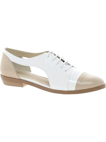 Market Flat Shoes - predominant colour: white; secondary colour: nude; occasions: casual, evening, work; material: faux leather; heel height: flat; toe: round toe; style: brogues; finish: plain; pattern: colourblock; embellishment: toe cap
