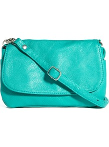 Noleta Small Cross Body Bag - predominant colour: turquoise; occasions: casual; style: messenger; length: across body/long; size: mini; material: faux leather; pattern: plain; finish: plain