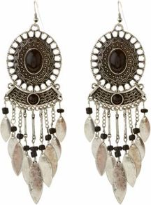 Black And Silver Leaf Chandelier Earrings - predominant colour: bronze; secondary colour: black; occasions: casual, evening, holiday; style: chandelier; length: long; size: large/oversized; material: chain/metal; fastening: pierced; finish: metallic; embellishment: chain/metal