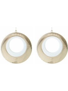 White And Gold Enamel Ridge Hoop Earrings - secondary colour: white; predominant colour: gold; occasions: casual, evening, work, holiday; style: hoop; length: long; size: large/oversized; material: chain/metal; fastening: pierced; trends: metallics; finish: metallic; embellishment: chain/metal