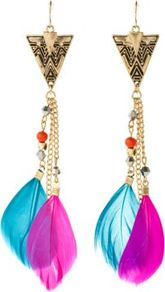 Pink And Turquoise Gold Triangle Feather Earrings - secondary colour: hot pink; predominant colour: turquoise; occasions: casual, evening, holiday; style: drop; length: extra long; size: large/oversized; material: chain/metal; fastening: pierced; finish: metallic; embellishment: feathers