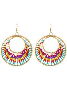 Multicoloured Bead Disk Earrings - secondary colour: gold; occasions: casual, evening, occasion, holiday; predominant colour: multicoloured; style: hoop; length: long; size: large/oversized; material: chain/metal; fastening: pierced; finish: plain; embellishment: beading