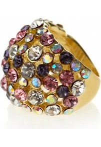 Gold Multicoloured Diamante Stud Dome Ring - secondary colour: magenta; predominant colour: gold; occasions: evening, work, occasion, holiday; style: cocktail; size: large/oversized; material: chain/metal; trends: metallics; finish: plain; embellishment: jewels
