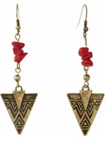 Coral And Gold Arrow Head Drop Earrings - predominant colour: true red; secondary colour: gold; occasions: casual, evening, occasion, holiday; style: drop; length: long; size: standard; material: chain/metal; fastening: pierced; finish: plain; embellishment: beading