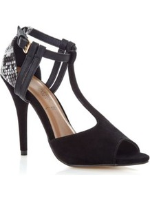 Black Snake Print T Bar Heels - predominant colour: black; occasions: evening, occasion; material: fabric; heel height: high; ankle detail: ankle strap; heel: stiletto; toe: open toe/peeptoe; style: t-bar; finish: plain; pattern: animal print