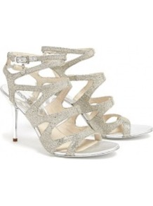 Silver Yvonne Ankle Strap Sandals - predominant colour: silver; occasions: evening, occasion, holiday; material: leather; heel height: high; embellishment: glitter; ankle detail: ankle strap; heel: stiletto; toe: open toe/peeptoe; style: strappy; trends: metallics; finish: metallic; pattern: plain