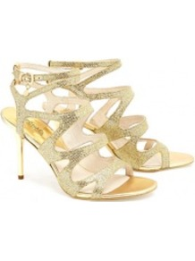 Gold Yvonne Ankle Strap Sandals - predominant colour: gold; occasions: evening, occasion, holiday; material: leather; heel height: high; embellishment: glitter; ankle detail: ankle strap; heel: stiletto; toe: open toe/peeptoe; style: strappy; trends: metallics; finish: metallic; pattern: plain