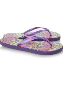 Ombre Animal Print Flip Flops Violet - predominant colour: lilac; occasions: casual, holiday; material: plastic/rubber; heel height: flat; heel: standard; toe: toe thongs; style: flip flops / toe post; finish: plain; pattern: patterned/print