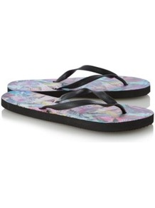 Graduate Fashion Week Feather Print Flip Flops Multi - predominant colour: black; occasions: casual, holiday; material: plastic/rubber; heel height: flat; heel: standard; toe: toe thongs; style: flip flops / toe post; finish: plain; pattern: patterned/print