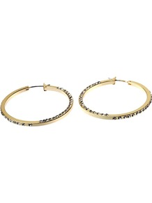 Full Hoop Diamanté Earrings, Gold - predominant colour: gold; occasions: evening, work, occasion; style: hoop; length: mid; size: standard; material: chain/metal; fastening: pierced; finish: plain; embellishment: crystals