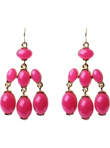 Three Row Drop Earrings, Fuchsia - predominant colour: hot pink; style: drop; size: large/oversized; material: plastic/rubber; fastening: pierced; occasions: holiday; finish: plain; embellishment: beading