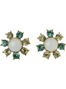 Flower Stud Earrings, Green/Gold - predominant colour: emerald green; occasions: casual, evening; style: stud; length: short; size: small; fastening: pierced; finish: plain; embellishment: jewels
