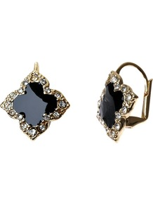 Diamante Bordered Enamel Cross Earrings, Black/Gold - secondary colour: bronze; predominant colour: black; occasions: evening, work, occasion; style: drop; length: short; size: standard; material: chain/metal; fastening: pierced; finish: patent; embellishment: crystals