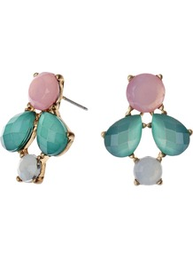 Crystal Assortment Stud Earrings, Multi - secondary colour: pink; predominant colour: teal; occasions: casual, evening, work, occasion; style: stud; length: short; size: small; material: chain/metal; fastening: pierced; finish: plain; embellishment: jewels