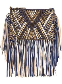 Est 1969 Navy Bead Embellished Suede Fringe Clutch - secondary colour: gold; predominant colour: black; occasions: evening, holiday; type of pattern: heavy; style: clutch; length: hand carry; size: standard; material: suede; embellishment: tassels; finish: plain; pattern: patterned/print