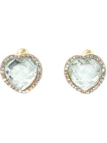 Green Crystal Diamante Heart Stud Earrings - predominant colour: gold; occasions: evening; style: stud; size: standard; material: chain/metal; fastening: pierced; embellishment: crystals
