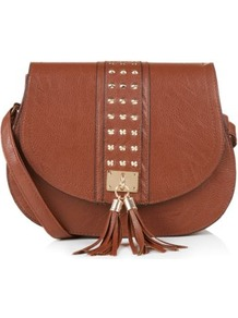 Tan Stud Tassel Saddle Bag - predominant colour: tan; occasions: casual, work, holiday; type of pattern: standard; style: saddle; length: across body/long; size: standard; material: faux leather; embellishment: tassels; pattern: plain; finish: plain