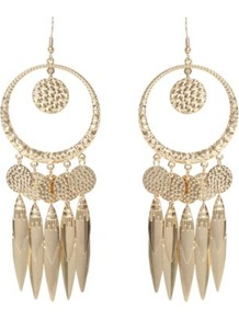 Gold Coin Drop Earrings - predominant colour: gold; style: drop; length: long; size: large/oversized; material: chain/metal; fastening: pierced; occasions: holiday; finish: metallic