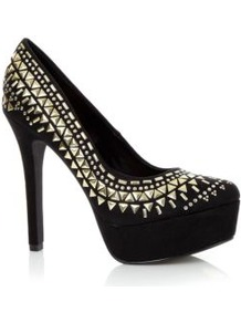 Black Triangle Stud Platform Court Heels - predominant colour: black; occasions: evening, occasion; material: faux leather; embellishment: studs; heel: platform; toe: round toe; style: courts; finish: plain; pattern: plain; heel height: very high