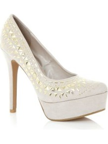 Cream Triangle Stud Platform Court Heels - predominant colour: ivory; occasions: evening, occasion; material: faux leather; embellishment: studs; heel: platform; toe: round toe; style: courts; finish: plain; pattern: plain; heel height: very high