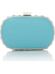 Turquoise Stud Trim Box Clutch - predominant colour: turquoise; secondary colour: silver; occasions: evening, occasion, holiday; type of pattern: standard; style: clutch; length: hand carry; size: small; material: faux leather; embellishment: studs; pattern: plain; finish: plain