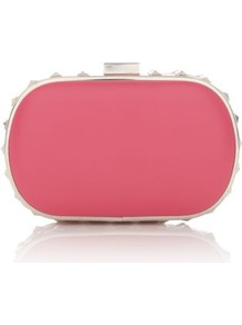 Fuchsia Stud Trim Box Clutch - secondary colour: silver; occasions: evening, occasion, holiday; type of pattern: standard; style: clutch; length: hand carry; size: small; material: faux leather; embellishment: studs; pattern: plain; finish: plain; predominant colour: dusky pink