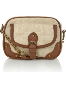 Beige And Brown Canvas Buckle Across Body Bag - predominant colour: tan; secondary colour: stone; occasions: casual, holiday; type of pattern: standard; style: shoulder; length: across body/long; size: small; material: fabric; finish: plain; pattern: colourblock; embellishment: chain/metal