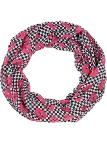 Navy Check Lips Print Snood - predominant colour: pink; secondary colour: navy; occasions: casual, work, holiday; type of pattern: heavy; style: snood; size: standard; material: fabric; trends: modern geometrics; pattern: patterned/print