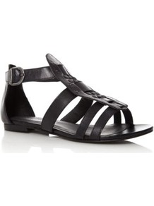 Black Gladiator Sandals - predominant colour: black; occasions: casual, work, holiday; material: faux leather; heel height: flat; embellishment: buckles; ankle detail: ankle strap; heel: block; toe: open toe/peeptoe; style: gladiators; finish: plain; pattern: plain