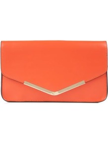 Orange Metal Tip Structured Envelope Clutch - predominant colour: bright orange; occasions: evening, occasion, holiday; type of pattern: standard; style: clutch; length: hand carry; size: standard; material: faux leather; pattern: plain; finish: plain; embellishment: chain/metal