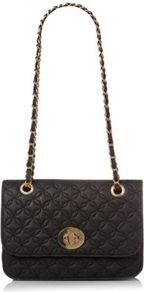 Black Quilted Chain Shoulder Bag - predominant colour: black; occasions: casual, evening, occasion; type of pattern: standard; style: shoulder; length: shoulder (tucks under arm); size: small; material: faux leather; embellishment: quilted; pattern: plain; finish: plain
