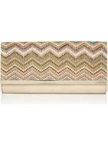 Stone Green And Blue Raffia Zigzag Clutch - secondary colour: blush; occasions: casual, evening, occasion, holiday; predominant colour: multicoloured; type of pattern: standard; style: clutch; length: hand carry; size: small; material: macrame/raffia/straw; finish: plain; pattern: horizontal stripes