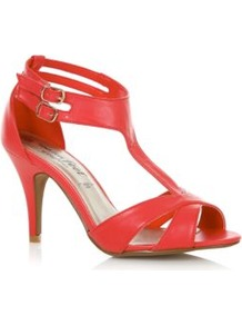 Wide Fit Coral Double Ankle Strap Heels - predominant colour: coral; occasions: casual, evening, occasion, holiday; material: faux leather; heel height: mid; embellishment: buckles; ankle detail: ankle strap; heel: standard; toe: open toe/peeptoe; style: strappy; trends: fluorescent; finish: plain; pattern: plain