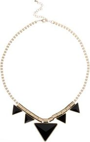 Gold And Black Triangle Necklace - secondary colour: gold; predominant colour: black; occasions: evening, work, occasion, holiday; style: choker/collar; length: short; size: standard; material: chain/metal; finish: metallic; embellishment: chain/metal