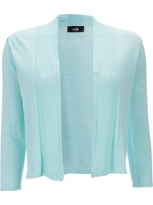Mint Shrug - pattern: plain; neckline: collarless open; style: open front; predominant colour: turquoise; occasions: casual; length: standard; fibres: cotton - 100%; fit: slim fit; sleeve length: 3/4 length; sleeve style: standard