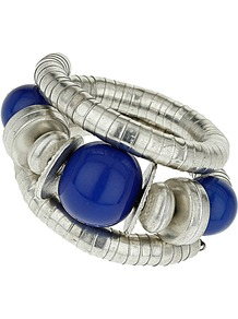 Blue Coil Bracelet - predominant colour: navy; secondary colour: silver; occasions: evening, holiday; style: bangle; size: large/oversized; material: chain/metal; finish: metallic; embellishment: beading