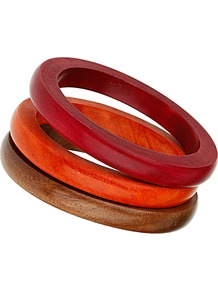 Neutral Wooden Bangle Set - occasions: casual, occasion, holiday; predominant colour: multicoloured; style: bangle; size: small; finish: plain; material: wood
