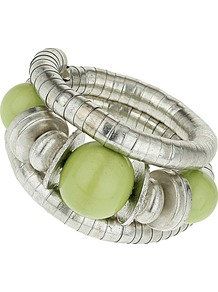 Green Coil Bracelet - predominant colour: lime; secondary colour: silver; occasions: casual, evening, occasion, holiday; style: cuff; size: standard; material: chain/metal; finish: metallic; embellishment: beading