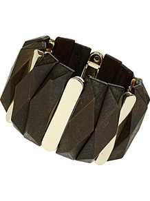 Brown Wooden Stretch Bracelet - predominant colour: chocolate brown; secondary colour: gold; occasions: casual, work, holiday; style: cuff; size: standard; finish: plain; embellishment: chain/metal; material: wood