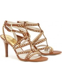 Luggage Alexi Studded Sandals - predominant colour: tan; secondary colour: gold; occasions: evening, occasion, holiday; material: leather; heel height: high; embellishment: studs; ankle detail: ankle strap; heel: stiletto; toe: open toe/peeptoe; style: strappy; finish: plain; pattern: plain