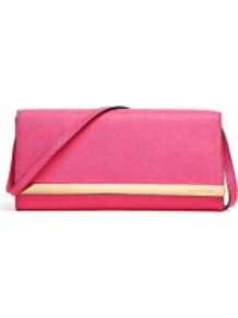 Zinnia Tilda Clutch Bag - predominant colour: pink; secondary colour: gold; occasions: evening, occasion, holiday; type of pattern: standard; style: clutch; length: hand carry; size: standard; material: leather; pattern: plain; finish: plain; embellishment: chain/metal