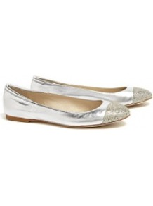 Yvonne Glitter Ballet Flats - predominant colour: silver; occasions: casual, holiday; material: leather; heel height: flat; embellishment: glitter; toe: round toe; style: ballerinas / pumps; trends: metallics; finish: metallic; pattern: plain