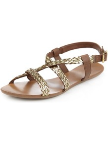Leather Crossover Plaited Sandals - secondary colour: tan; predominant colour: gold; material: leather; heel height: flat; heel: standard; toe: open toe/peeptoe; style: strappy; occasions: holiday; finish: metallic; pattern: paisley