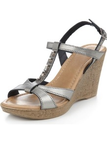 Leather Diamanté T Bar Wedge Sandals - predominant colour: charcoal; material: leather; heel height: high; embellishment: jewels; heel: wedge; toe: open toe/peeptoe; style: strappy; occasions: holiday; finish: metallic; pattern: plain