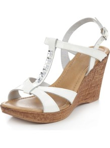 Leather Diamanté T Bar Wedge Sandals - predominant colour: white; material: leather; heel height: high; embellishment: jewels; heel: wedge; toe: open toe/peeptoe; style: strappy; occasions: holiday; finish: metallic; pattern: plain